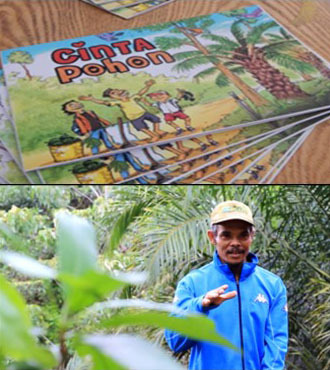 Information campaign: information on planting trees in oil palm plantations was communicated by means of an illustrated information brochure (above) and a film (below). Both were produced in collaboration with local artists.